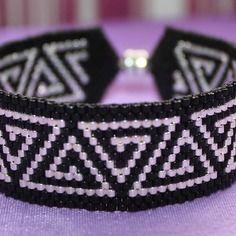 Bracelet manchette perles en argent rocaille miyuki 11/0 tissage peyote
