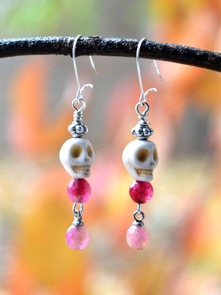 ...SWEET SUGARSKULLS... #cute #jewelry #skulls  Tiny Pink and White Skull Earrings