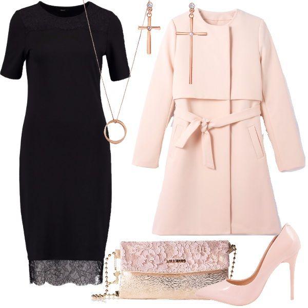 Cena per due: tubino nero con pizzo nella parte bassa del vestito che arriva al ginocchio. Cappotto rosa cipria stretto in vita dalla cintura e scarpe décolleté in tinta. Borsa con catenella e pizzo rosa che richiama l'abito. Per i gioielli, orecchini e collana lunga in oro rosa.