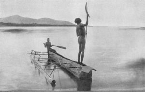 Photo of two men on their outrigger canoe, fishing. Cairns http://www.aboriginalculture.com.au/fishingmethods.shtml
