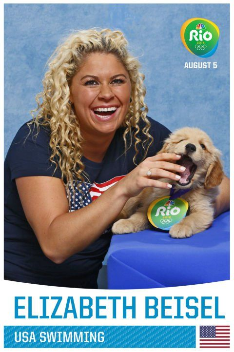 Pin for Later: A Whole Bunch of Olympians Holding Puppies, Because Obviously Elizabeth Beisel