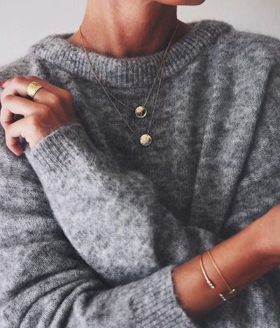 Golden Delicate Jewelry And Grey Sweater