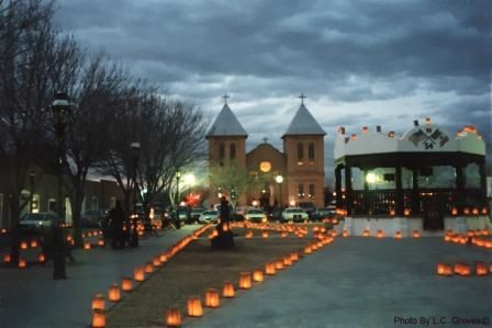 Old Mesilla Plaza in NM (near Las Cruces) a beautiful quiet dark plaza at night, seems like old Mexico there....
