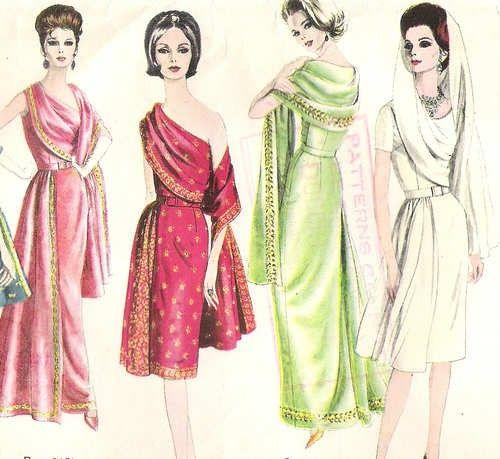 Vintage Early 1960s Stylish VOGUE Sari by RainbowValleyVintage