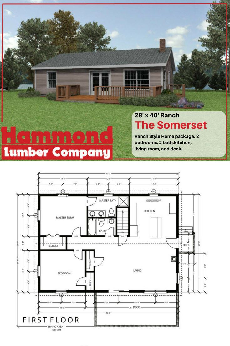 The Somerset Is A 28 X40 Ranch Style Home It Has 2 Bedrooms 2 Baths Kitchen Living Room And Deck This Is Al Ranch Style Home House Plans Pole Barn Homes