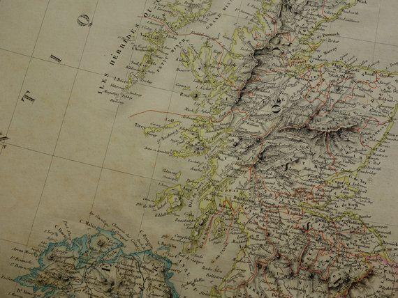 GREAT BRITAIN map 1841 original antique hand by DecorativePrints