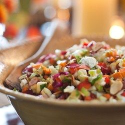 """Use a Spoon"" Chopped Salad - EatingWell.com #weightwatchers #smartpoints 4SP substituting the cheese for low-fat cheddar cheese (4oz)"