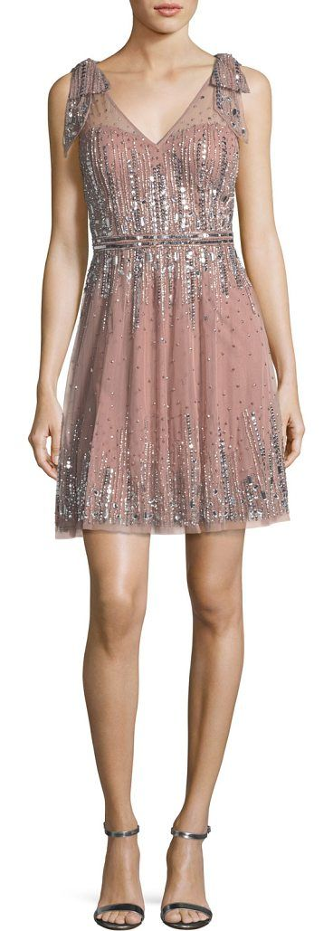 Embellished A-Line Mini Dress by Aidan Mattox. Aidan Mattox embellished chiffon cocktail dress. Deep V neckline and back. Sleeveless; embellished straps. A-line silhouette. Hidden back zip. Mini length. Polyester self/lining. Spot clean. Imported. #aidanmattox #dresses