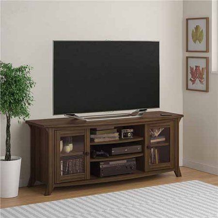 "Altra Oakridge Homestead Oak TV Stand with Glass Doors for TVs up to 60"" - Walmart.com"