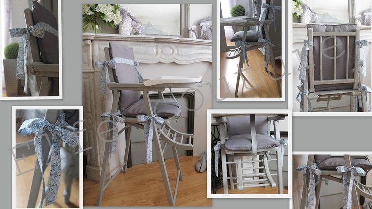 Coussin chaise haute Combelle - Tissu déperlant gris uni & liberty eloise bleu - rubans