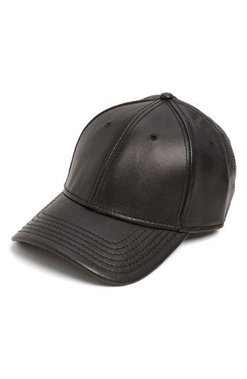 €87, Casquette de base-ball en cuir noir Gents. De Nordstrom. Cliquez ici pour plus d'informations: https://lookastic.com/men/shop_items/102052/redirect