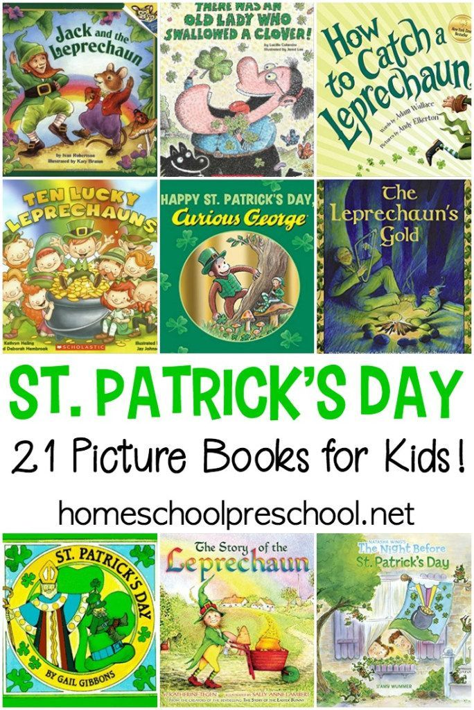 The luck of the Irish will be on your side with this amazing collection of St Patricks Day books for kids! These books feature legends, leprechauns, and lots of luck! #stpatricksday #stpatsday #stpatricksdaybooks #picturebooks #preschool #homeschooling   https://homeschoolpreschool.net/st-patricks-day-books/