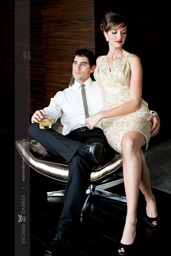 Couple pose mad men style anniversary pics