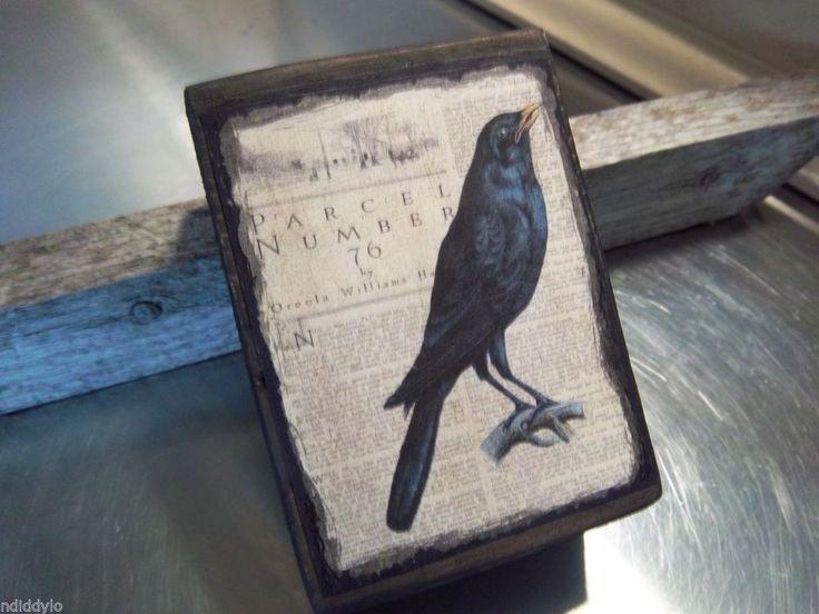crow wood art block handmade rustic bird art halloween