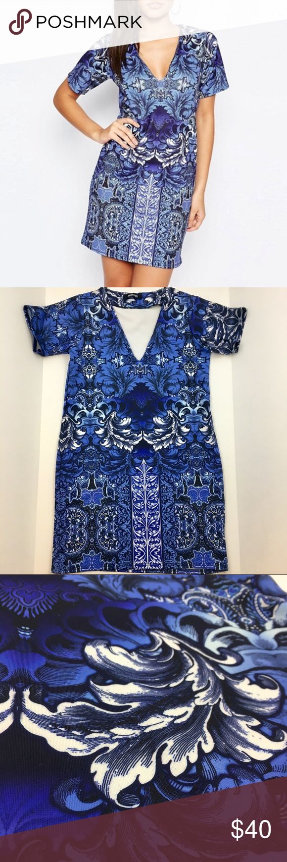 """NWT Missguided Blue Tile Print Pattern Dress Gorgeous and brand new dress that's the perfect addition to your going-out wardrobe! The print is super fun and the cut of the dress is so flattering. Ask any questions 💕 approx measurements: 18"""" bust, 33.5"""" length Missguided Dresses Mini"""