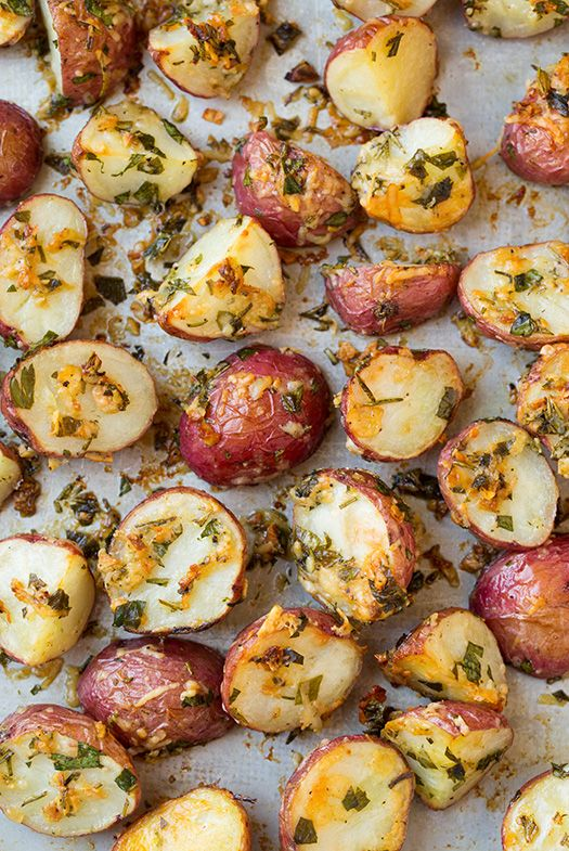 Sick of mashed potatoes? These cheesy roasted potatoes are TDF. Get the recipe from Cooking Classy.   - Delish.com