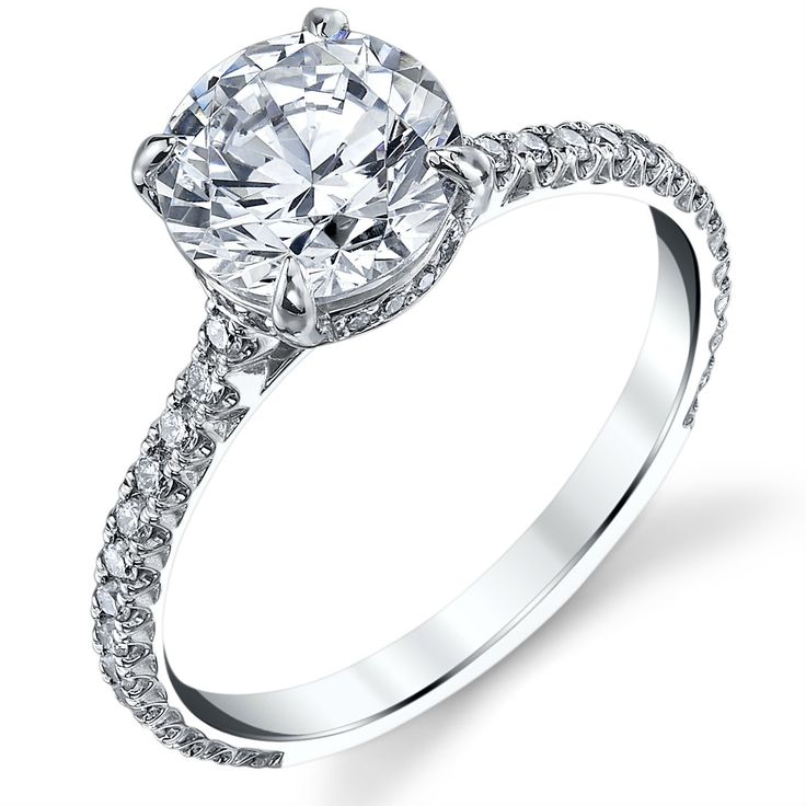 Amazing JORDYN encrusted in diamonds in a delicate manner Cathedral engagement ring with a