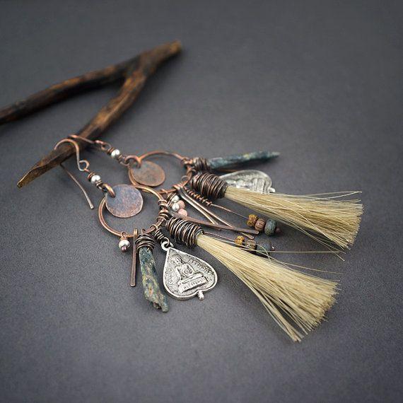 tribal earrings • horse hair tassels • Buddha silver charms • raw Kyanite spikes • handforged copper circle • primitive cluster • organic