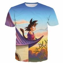 Nouvelle arrivée Kid Goku t de Dragon Ball Z t-shirts hommes femmes Hipster 3D t shirt mignon Goku coucher de soleil paysages t-shirts tops(China (Mainland))