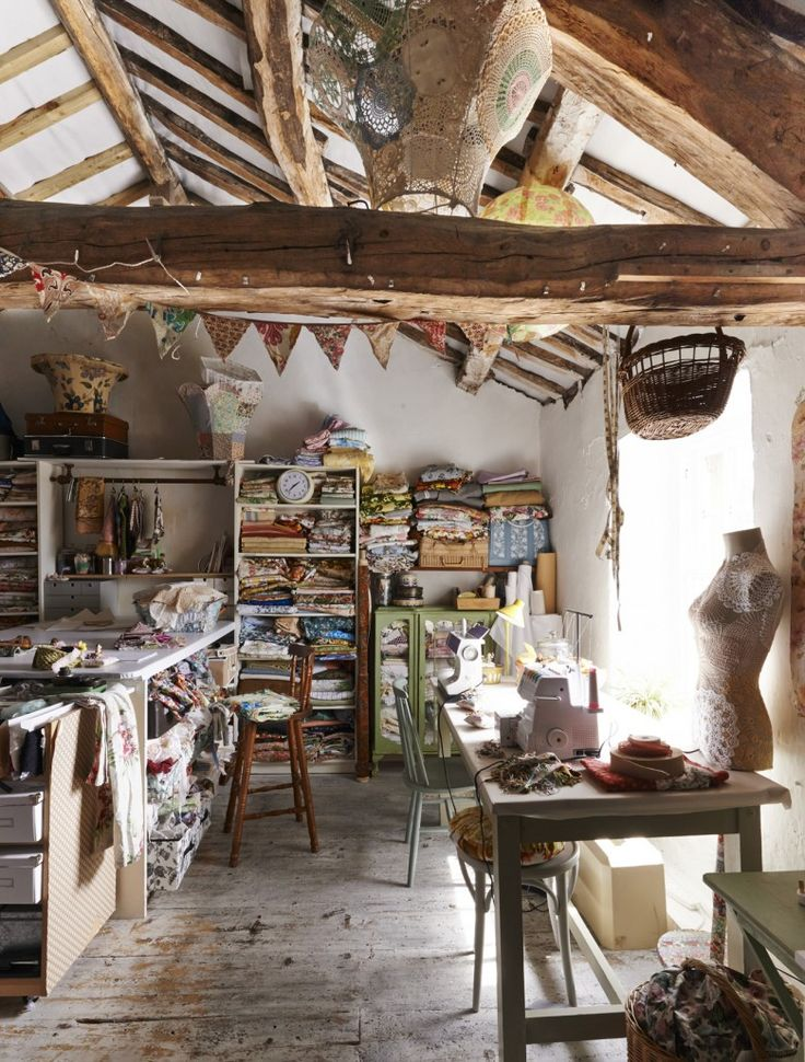 Rustic sewing in a barn - isnt this gorgeous!!!  Rachelle Blondell, Second Hand Chic - Country Living Magazine February 2014.