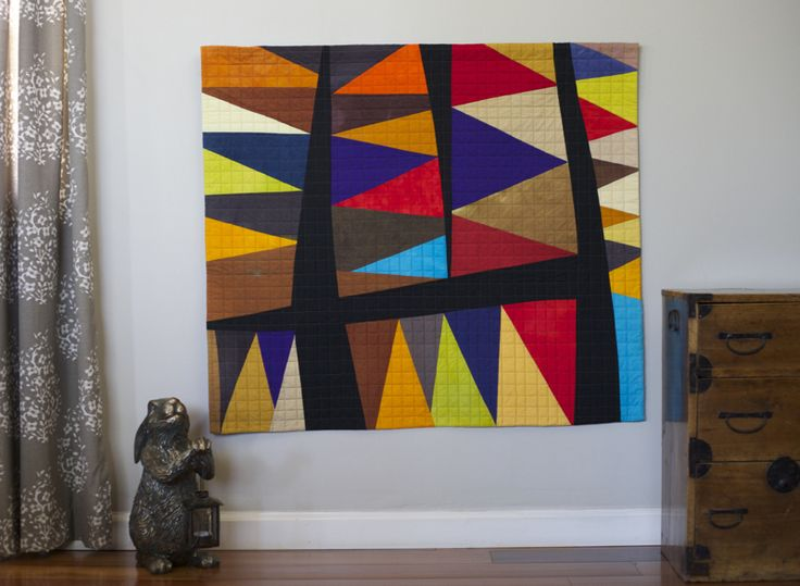 Great contemporary quilt using just solids!