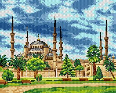 Kanwa Meczet Sułtana Ahmeda - Kokardka - sklep internetowy - haft krzyżykowy, szydełkowanie, włóczki, robótki na drutach, kanwy, filcowanie, decoupage, robótki ręczne.