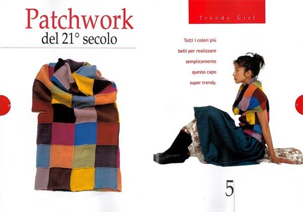 Cuello largo con trozos crochet patchwork. Patrones de Crochet