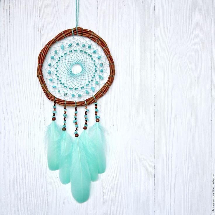 Купить Ловец снов - бирюзовый, бирюза натуральная, ловец снов, ловец сновидений, декор для дома