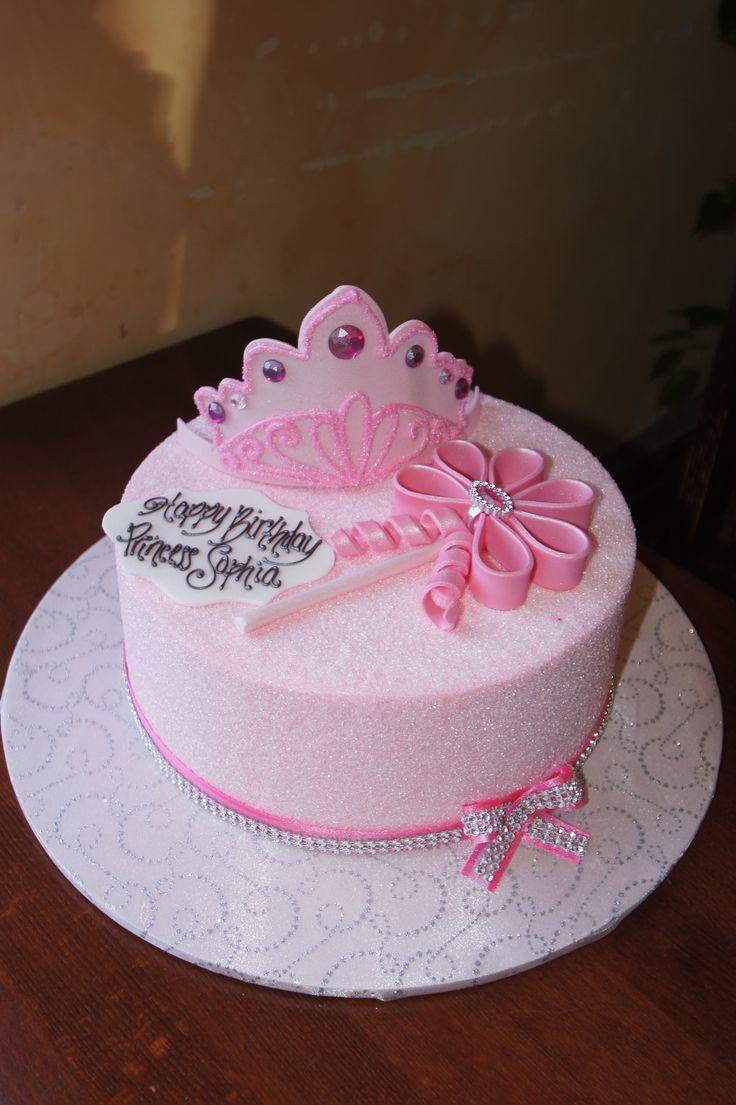 Pink princess pressed sugar birthday cake