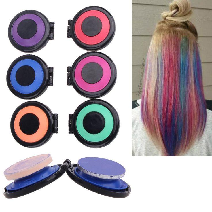 6 Kleuren Professionele Tijdelijke Haarverf Coloured Poeder Cake Styling Haar Krijt Set Roze Blauw Paars Groen Rood