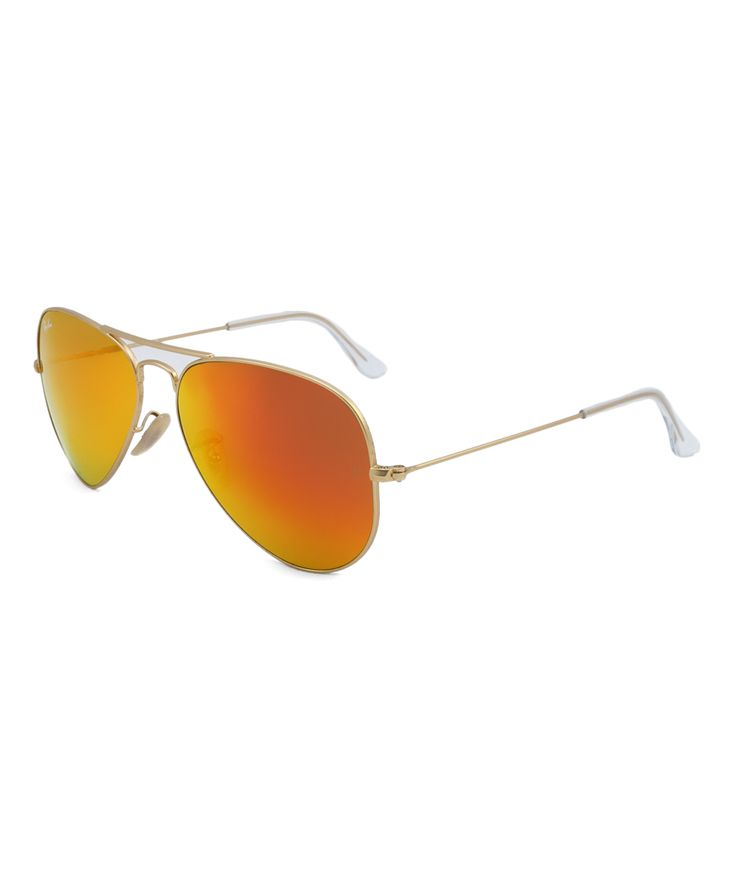 Matte Gold & Crystal Brown Mirror Orange Aviator Sunglasses
