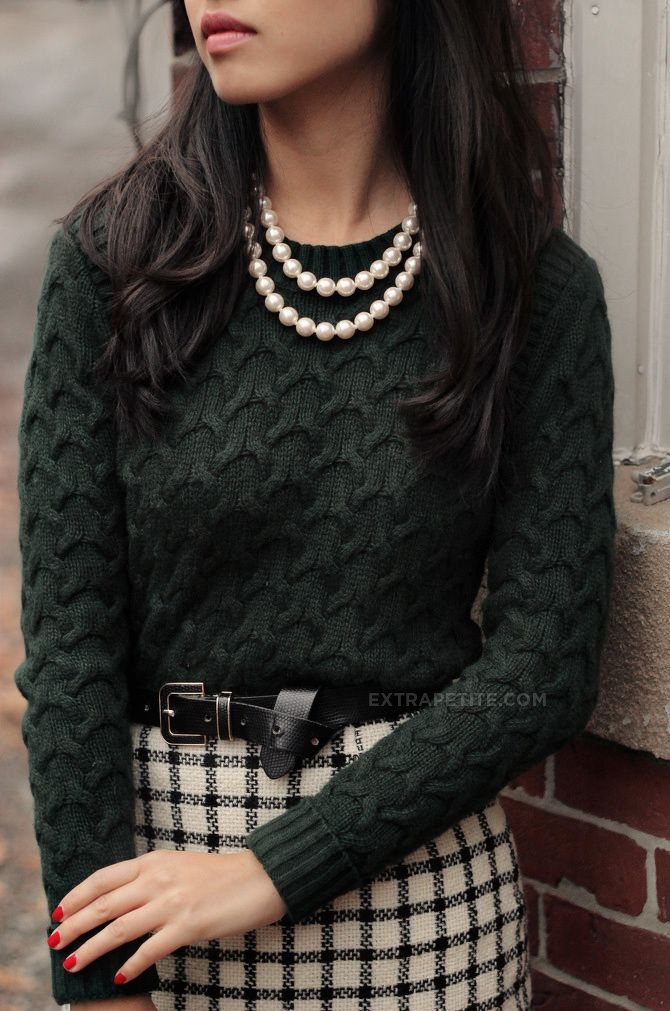 Dark green textured sweater, large check pencil skirt, black bow belt and double strand pearls
