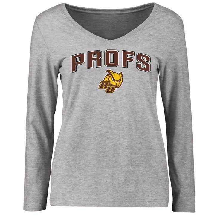 Rowan Profs Women's Proud Mascot Slim Fit Long Sleeve T-Shirt - Ash
