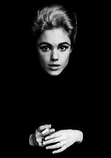 Edie Sedgwick Andy Warhol Pop Art Underground Film Actress Superstar of the 1960s with a silver bouffant hairstyle.