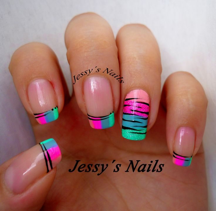 uñas neones estilo cebra #nailart #nail #zebra #cebra #uñas