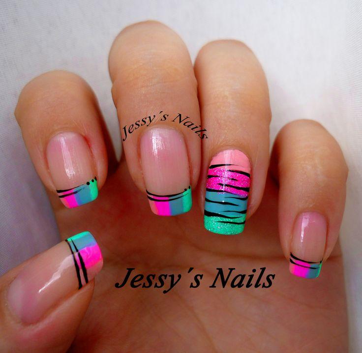 U as neones estilo cebra nailart nail zebra cebra - Decoracion en cebra ...