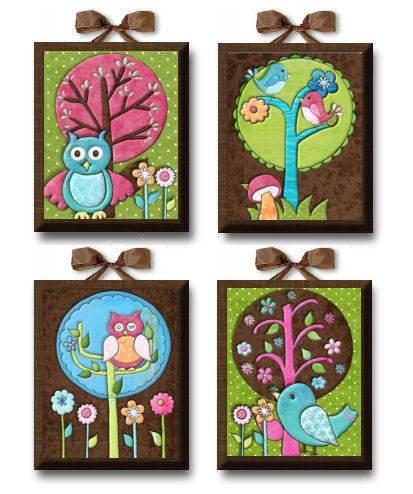 Nature Lover Birds and Owls Girl Set of 4 par art4theLITTLEpeople