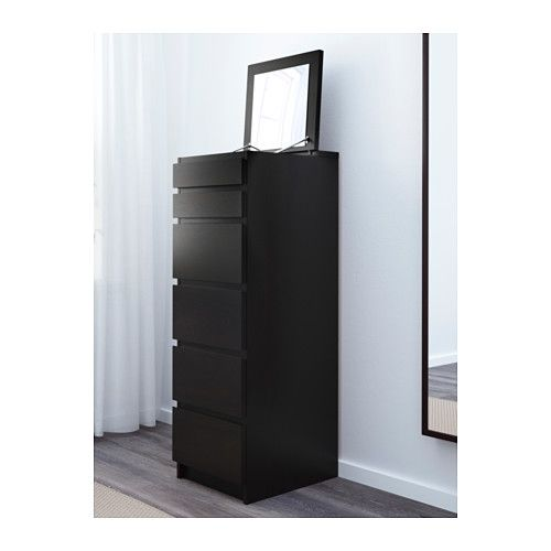 MALM Ladekast met 6 lades - zwartbruin/spiegelglas - IKEA