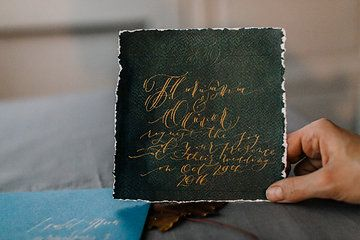Bespoke artisan wedding invitation painted and handwritten by Charmink Calligraphy.  Photo from Lettering by Raluca collection by Andreea Alexandroni