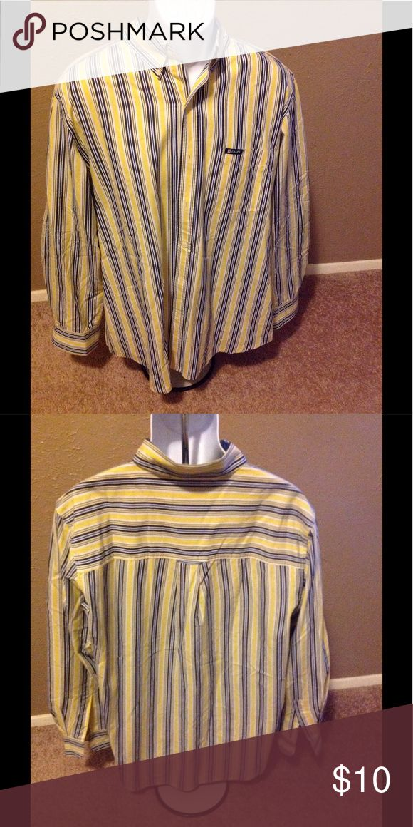 Chaps Shirt Yellow and blue strips in mint condition no hole or rips like new ..please ask questions Chaps Shirts Casual Button Down Shirts