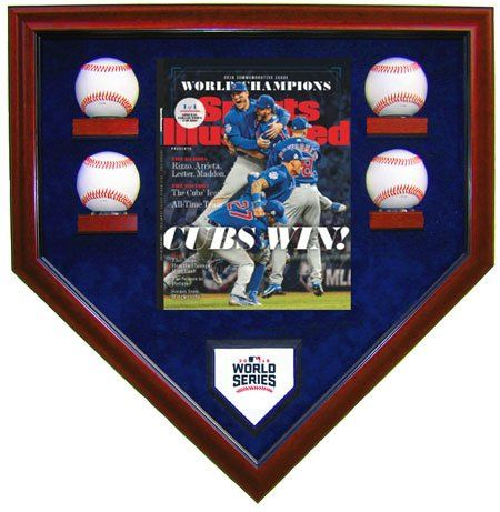 2016 World Series Champions Chicago Cubs Homeplate Shaped 4 Baseballs Display Case with a Sports Illustrated Cover Reprint