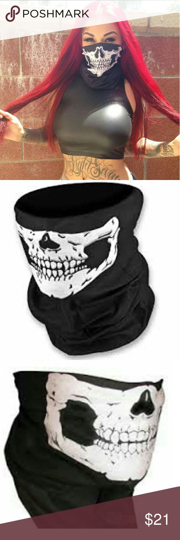 Bad girl sexy pull up face mask bad boyBandana BLACK Skeleton Face Mask, Bandana, Face Protection, Multifunctional, Seamless, Tube Mask, Thin, Lightweight, Perfect For Skiing, Snowboarding, Motorcycling, Paintball, Yard Work, Costume Dress Up, & More! Accessories Scarves & Wraps