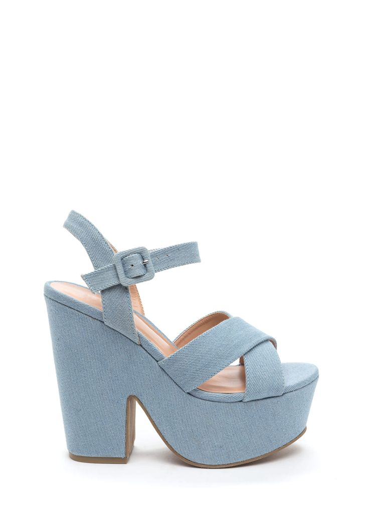 These denim chunky heels will not only give you height, but they'll also allow you to walk with ease.