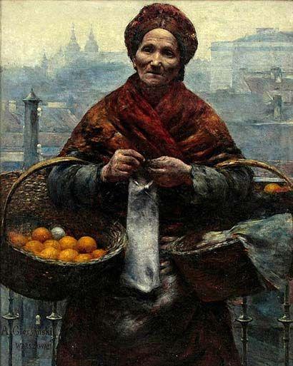 """Jewess with Lemons"" (1880-1881) by  Aleksander Gierymski (Polish, 1850–1901), oil on canvas, National Museum, Warsaw. Ignacy Aleksander Gierymski (30 January 1850, Warsaw – d. 6–8 March 1901, Rome) was a Polish painter of the late 19th century. He..."