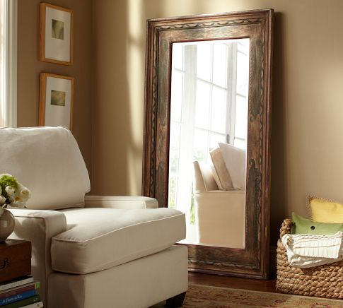 Large floor mirror pottery barn furniture and home for Wood floor length mirror