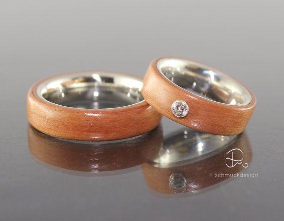 Eheringe Verlobung Bentwood Birne Silber von pmschmuckdesign