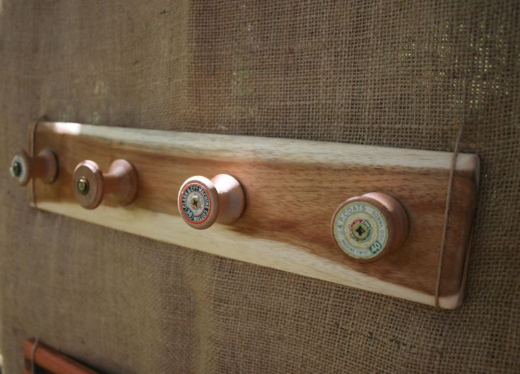 jewellery hooks from old cotton reels.