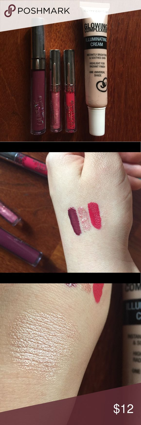 COLOURPOP NEW ‼️🌺💋#NWOT Brand new never used colourpop liquid lips. The full size is an ultra glossy lip in shade Sookie, and minis are from their Valentines collection in shades Sugar Lips (ultra glossy) and Honey Pie (ultra matte) Also throwing in a liquid highlighter from City Color Cosmetics Colourpop Makeup Lipstick