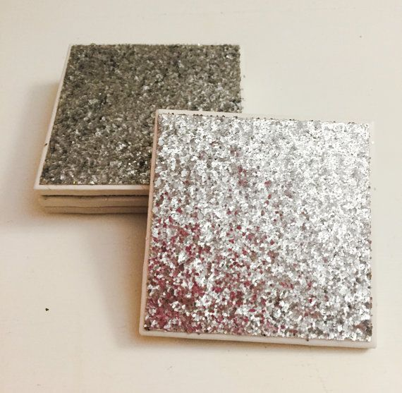 Glitter Coasters  Silver Coasters  Set of 4  by GabysInspirations