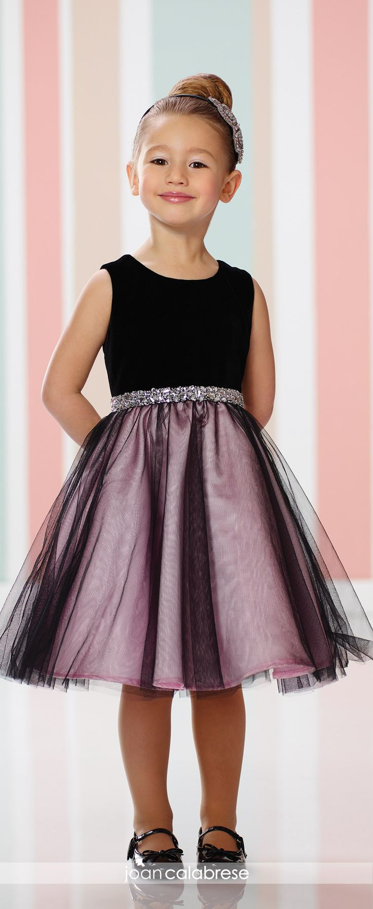 Joan Calabrese for Mon Cheri - 216320 - Sleeveless velvet, tulle and satin knee-length full A-line dress with jewel neckline, velvet bodice with heavily hand-beaded natural waistband, tulle overlay skirt.  Sizes: 2 – 14  Colors: Black/Pink, Navy Blue